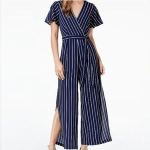 Monteau Blue and White Striped Jumpsuit.